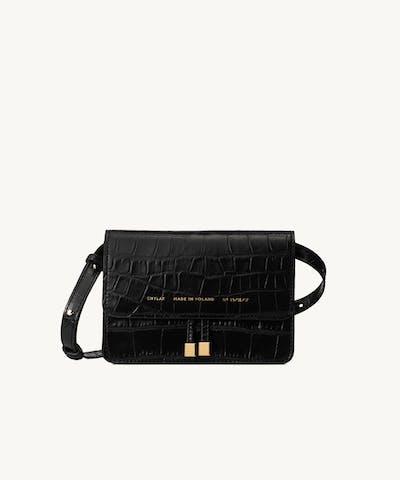 "Mini Belt Bag ""glossy black crocodile"""