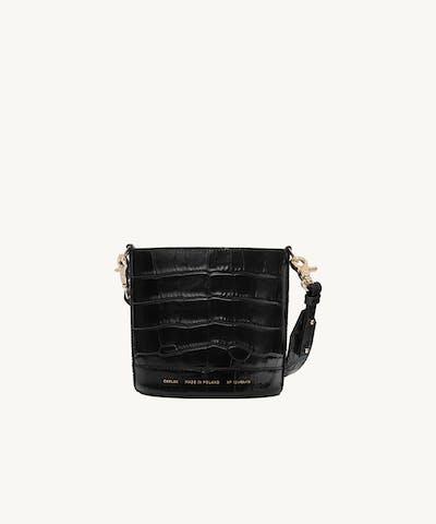 "Mini Cylinder Bag ""glossy black crocodile"""