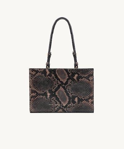 """Mini Tote Bag """"brown python"""""""
