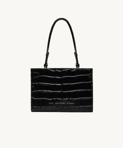 """Mini Tote Bag """"glossy black crocodile"""""""