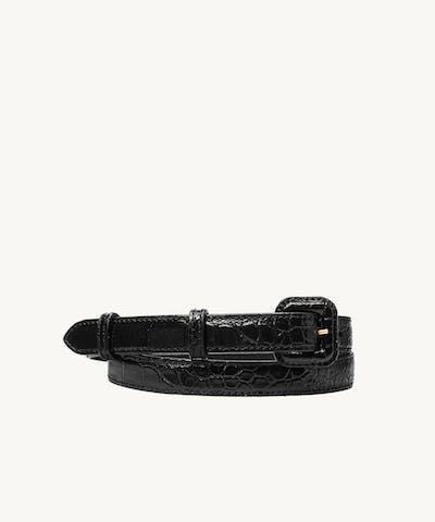 "Narrow Belt ""glossy black crocodile"""