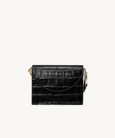 "Retro Bag ""glossy black crocodile"""