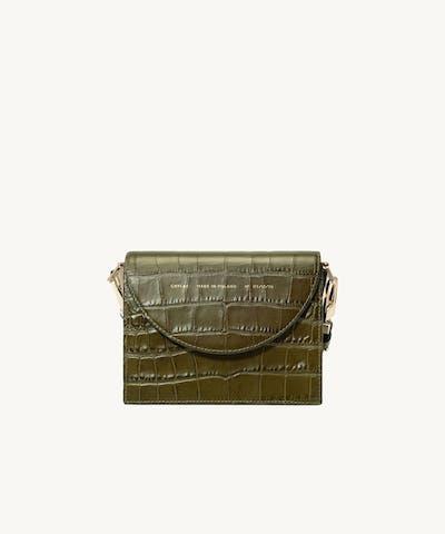 "Retro Bag ""olive crocodile"""