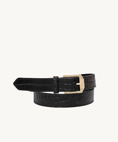 "Retro Belt ""glossy black crocodile"""