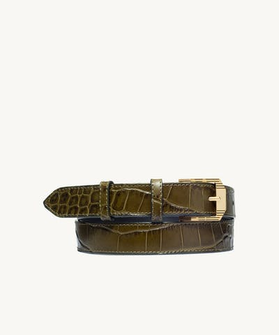 "Retro Belt ""olive crocodile"""