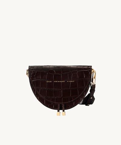 """Saddle Bag """"glossy brown crocodile"""""""