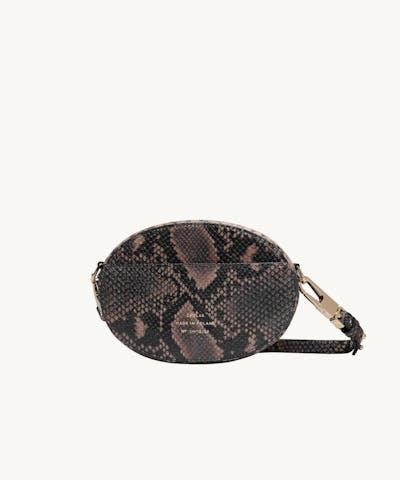 """Ellipse Shoulder Bag """"brown python"""""""