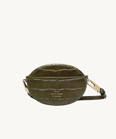 """Ellipse Shoulder Bag """"olive crocodile"""""""