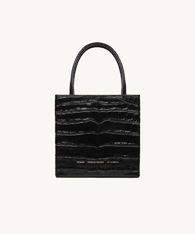 "Square Bag ""glossy black crocodile"""
