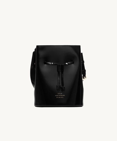 """Structured Bucket Bag """"glossy black"""""""