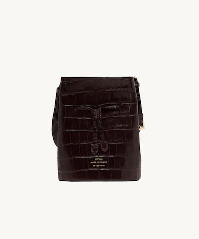 "Structured Bucket Bag ""glossy brown crocodile"""