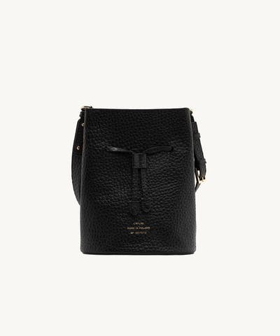"Structured Bucket Bag ""black pebbled leather"""