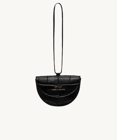 "Tiny Saddle Bag ""glossy black crocodile"""