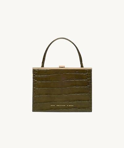 """Vintage"" Clasp Bag ""olive crocodile"""