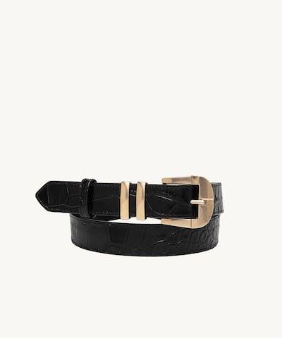 """Vintage"" Belt ""glossy black crocodile"""