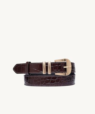 """""""Vintage"""" Belt """"glossy brown crocodile"""""""