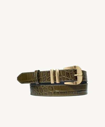 """Vintage"" Belt ""olive crocodile"""