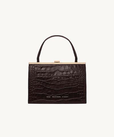 """Vintage"" Clasp Bag ""glossy brown crocodile"""