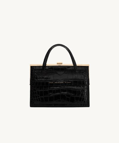 """Vintage"" Clasp Bag ""glossy black crocodile"" with Pocket"