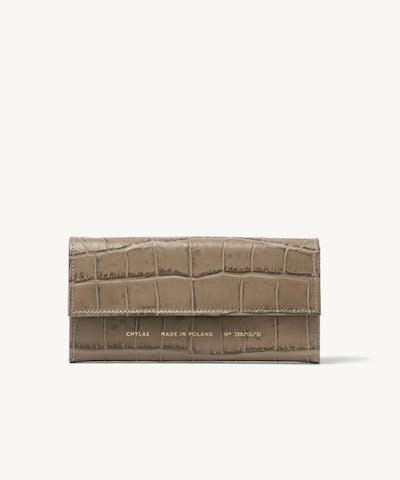 """Flap Wallet """"beige crocodile"""""""