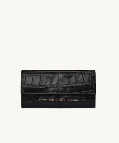 "Flap Wallet ""glossy black crocodile"""