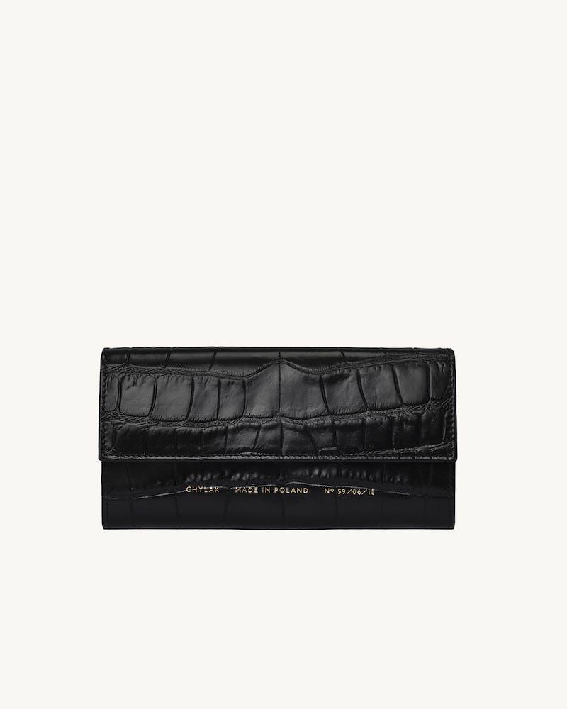 "Flap Wallet ""glossy black crocodile""  #1"