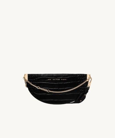 "Wide Saddle Bag ""glossy black crocodile"""