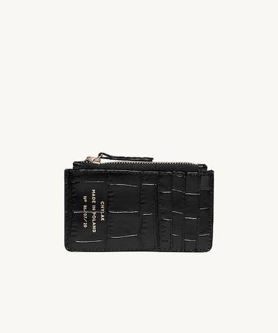 "Zippered Cardholder ""glossy black crocodile"""