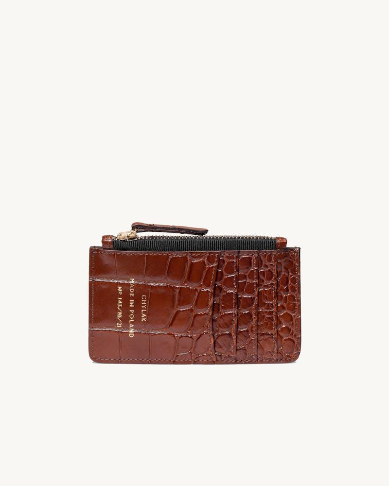 "Zippered Cardholder ""glossy caramel crocodile""  #1"