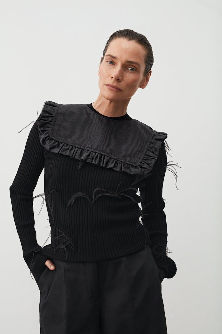 Square Collar Moiré Black